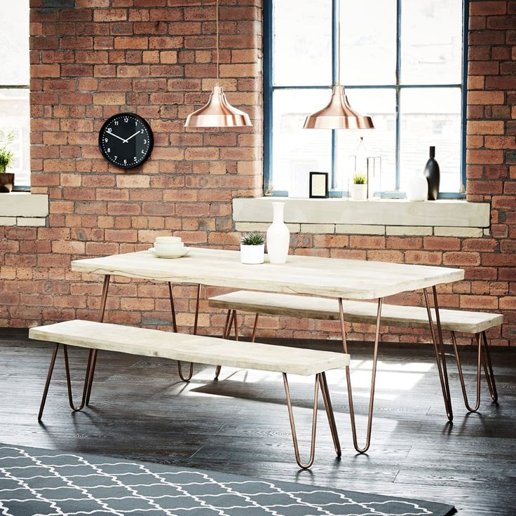 Mango wood dining table with copper hairpin legs