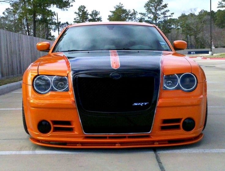 Orange with black stripes  Srt8 Chrysler 300
