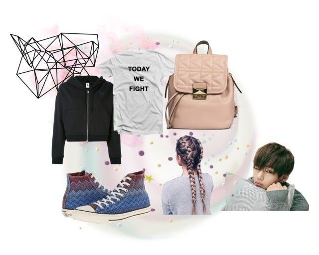 """V~ Today We Fight"" by shaleens2 ❤ liked on Polyvore featuring Color Me, NIKE, Karl Lagerfeld and Converse"