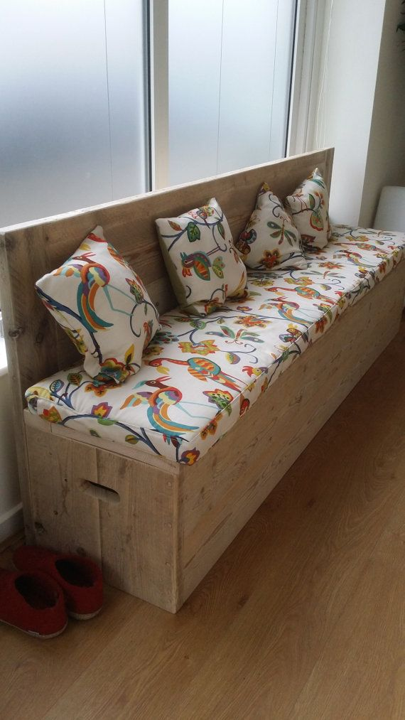 Storage bench with back rest. by Naturalcity on Etsy
