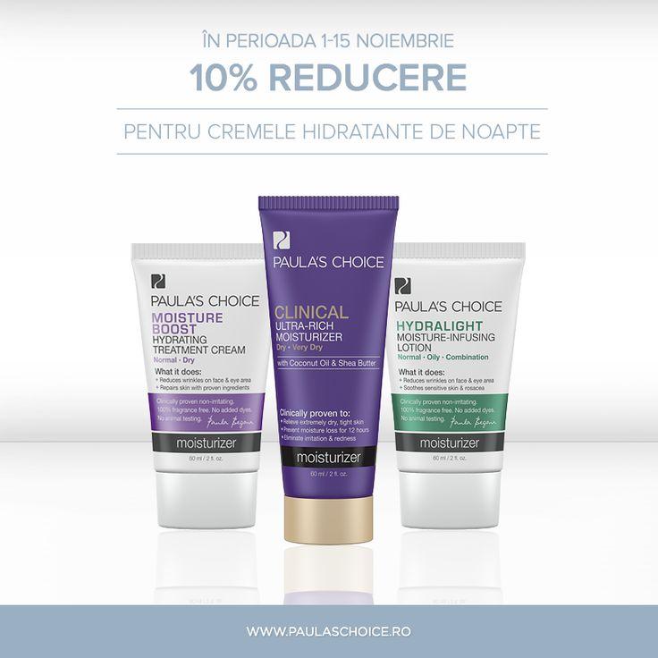 Poate ai observat și tu că pielea începe să sufere în urma temperaturilor tot mai scăzute. Poți preveni roșeața, uscăciunea și iritația acționând din timp! Folosește o cremă hidratantă corect formulată pentru rutina ta de seară, cu conținut ridicat de antioxidanți, ingrediente reparatoare și anti iritanți. Din 1 până în 15 noiembrie, ai reducere 10% pentru toate cremele hidratante fără SPF,