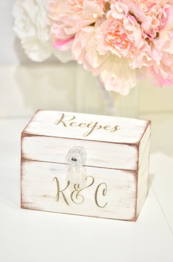 ♥DESCRIPTION♥  Beautiful lightweight wooden personalized recipe box. Comes engraved with the word Recipes on top and personalized with any two initials of your choice. Perfect wedding or housewarming gift! -Box Measures: 3.75L x 6.5W x 4.5H -Design to hold 4x6 recipes cards -Box is hand painted in a distressed white  ♥PROCESSING TIME AND SHIPPING ♥ 2 weeks processing time. Shipping time is as follow:  U.S ORDERS: will be shipped via USPS ( an additional 3-5 business days) ORDERS OUTSIDE U.S…