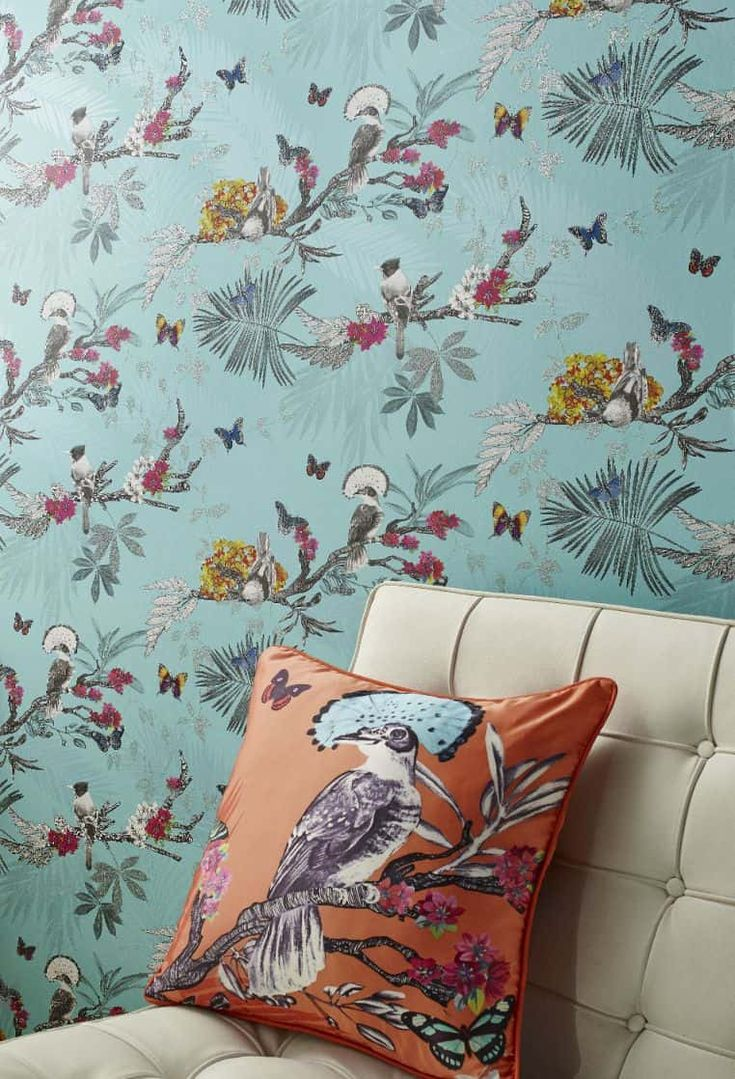 In this striking tropical forest wallpaper design