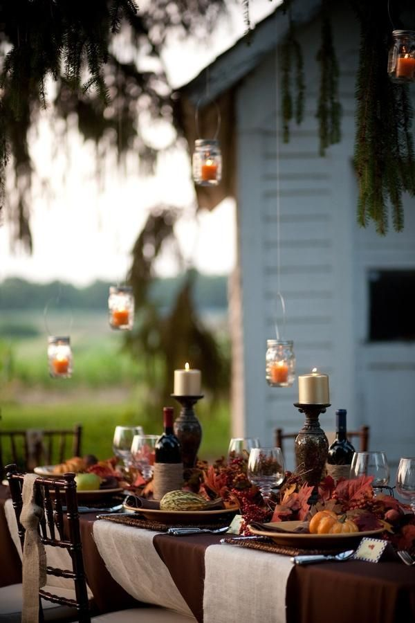 Take advantage of the cooler weather and fete outside! String lights, scatter around candles, and set up a fire pit ............