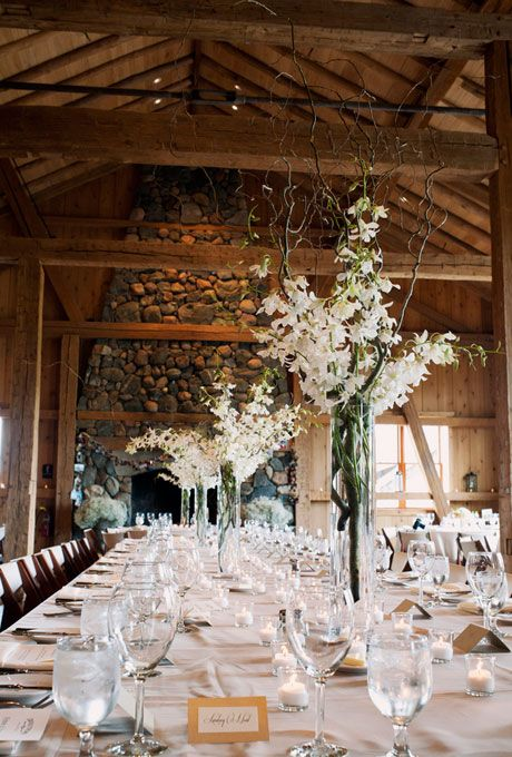 Brides: Tall Rustic White Floral Wedding Centerpiece