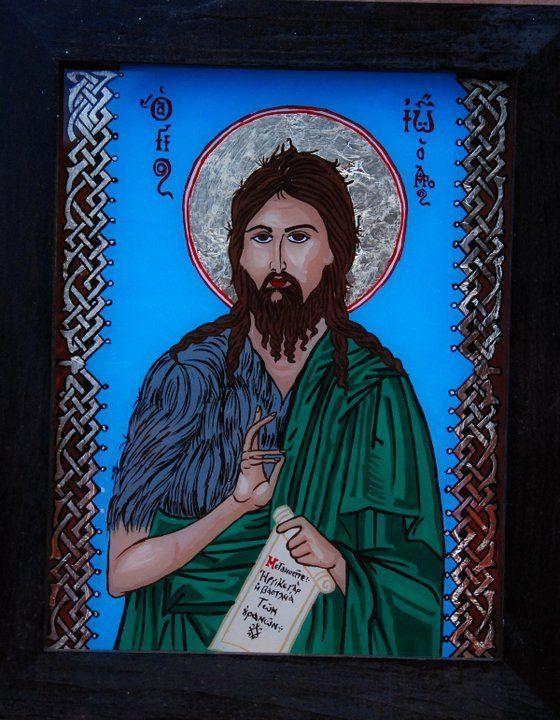 Icoana il reprezinta pe Sfantul Ioan Botezatorul si este pictata pe sticla si lucrata manual 100%. http://mirela-moldor.ro/icoane/sfantul-ioan-botezatorul-model-al-smereniei/