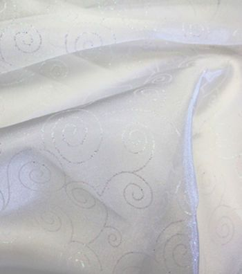 Glitterbug  Special Occasion Fabric- Glitter Scroll Organza White