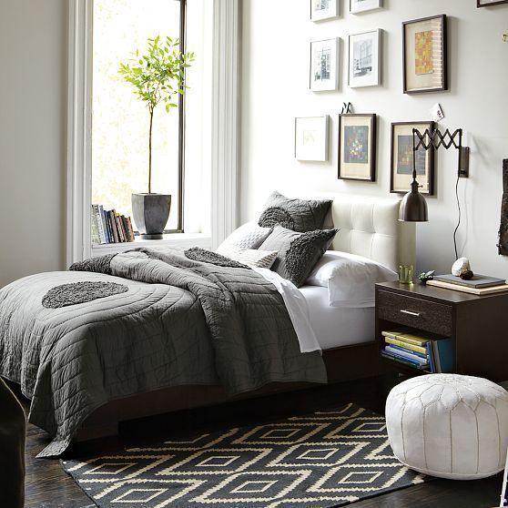 narrow leg upholstered bed frame dove gray west elm bedrooms o ...