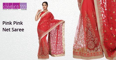Pink Pink Net Saree in $87.95 AUD with Responsive Customer Service enquiries responded within 24 hours from Chhabra555 in Australia.