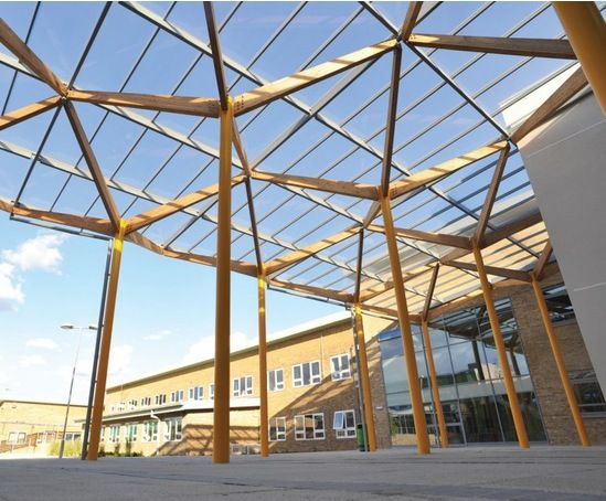 Bspk fra patent glazed canopy structure phase 3 timber for Steel shade structure design