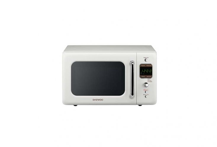 Daewoo Retro Countertop Microwave Cream White