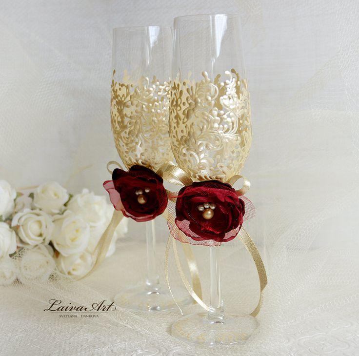 Wedding Champagne Glasses Flutes Ivory Burgundy Toasting Gold
