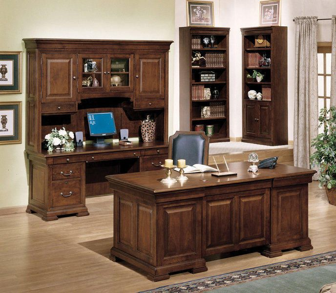 Classic Cherry Home Office Executive Desk And Credenza Set Traditional Home Office Furniture Home Office Furniture Design Office Furniture Layout