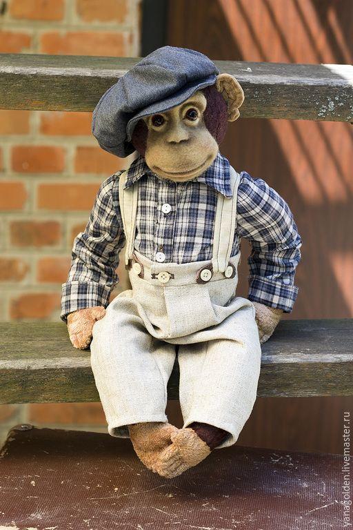 Купить Игрушка.Обезьянка Noodles . - коричневый, обезьяна, обезьяна в стиле тедди, игрушечная обезьяна