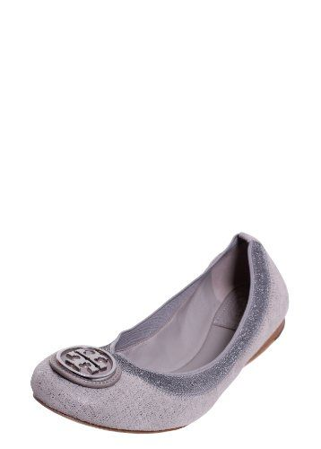 TORY BURCH Tory Burch Caroline 2 Nightfall Leather Ballet Flat In  Pewter/Mercury. #