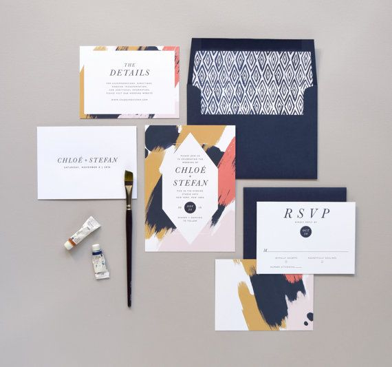 Chloé Wedding Invitation & Correspondence Set / Paint Strokes and Contemprorary Accents / Sample Set