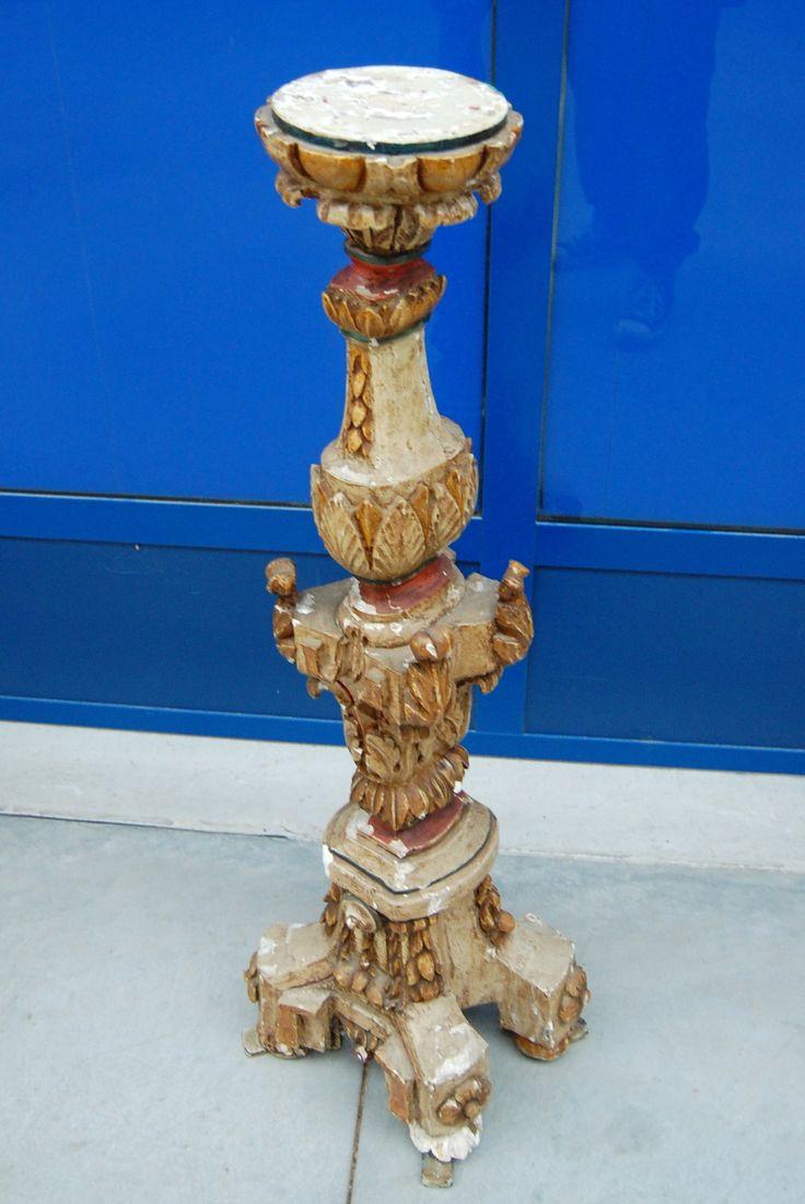 Torcere barocco primo '800 in legno laccato d'epoca alto 105 cm