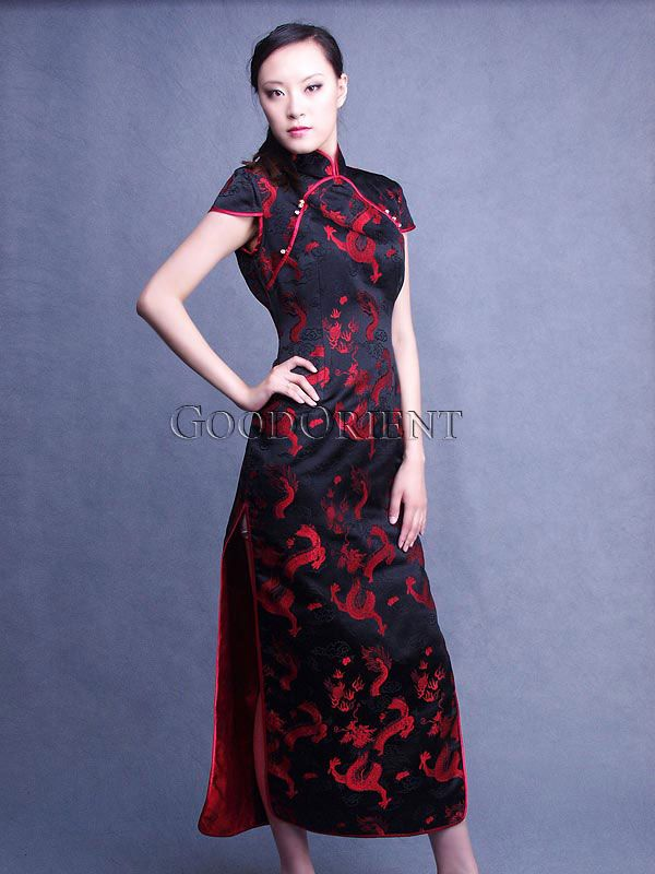 85f47aa272222f Red Chinese Dragon Silk Brocade Qi Pao | Asian Women | Red chinese ...