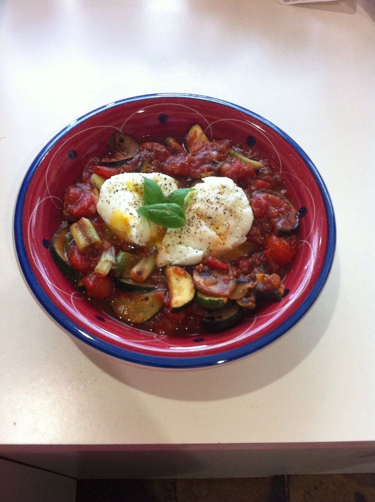 poached eggs with zucchini, tomato, cherry tomatoes, mushroom, spring onion and basil