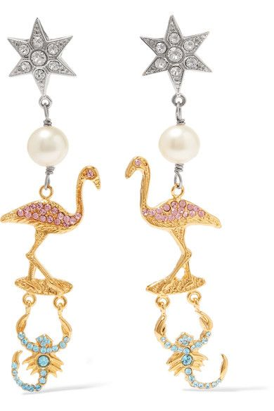 Miu Miu - Gold And Silver-plated, Faux Pearl And Crystal Clip Earrings - one size