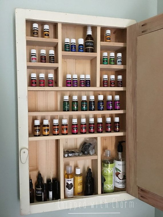 Essential Oil Storage Cabinet~ Chalkboard door This beautiful handcrafter cabinet has been designed to accommodate all of your oiling needs. Our