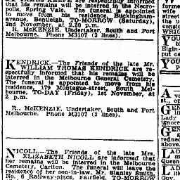 NICOLL, Elizabeth. Funeral and burial at Melb General Cemetery 2/11/1929 The Age, 1/11/1929, 'Family notices', p.1.