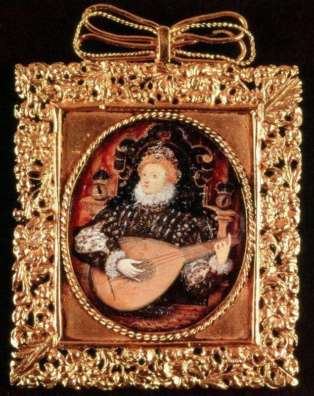 Queen Elizabeth Lute Miniature, Nicholas Hilliard, c. 1576,  Berkeley Castle.