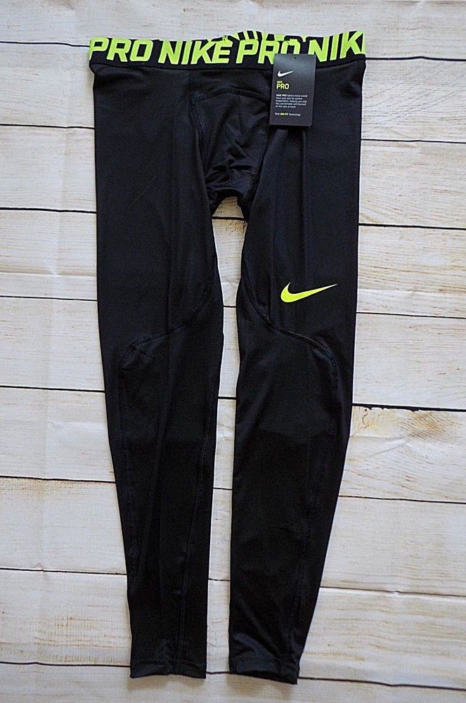 4a5c117e143 Nike Mens Pro Compression Tight Leggings Black Green Dri Fit Medium AA3549  702 #Nike #Leggings