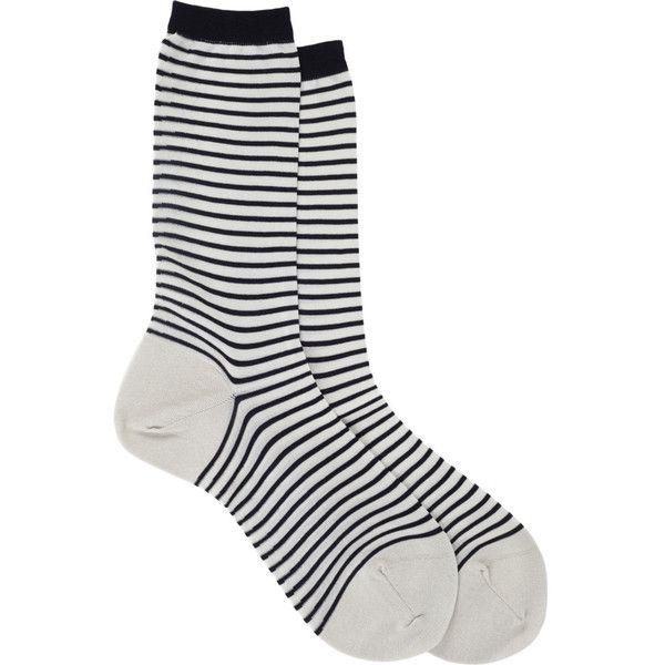 Antipast Stripe Mid-Calf Socks ($34) ❤ liked on Polyvore featuring intimates, hosiery, socks, accessories, socks and tights, socks/tights, mid calf socks, antipast, striped socks and stripe socks