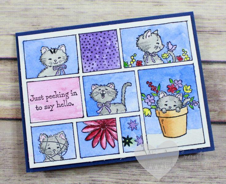 Watercolor kitty card using Sandy Allnock comic strip template. Wendy Cranford www.luvinstampin.com