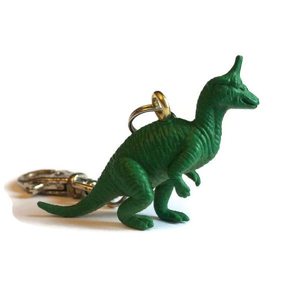 Dinosaur keyring key chain bag charm upcycled by FuNkTjUnK on Etsy