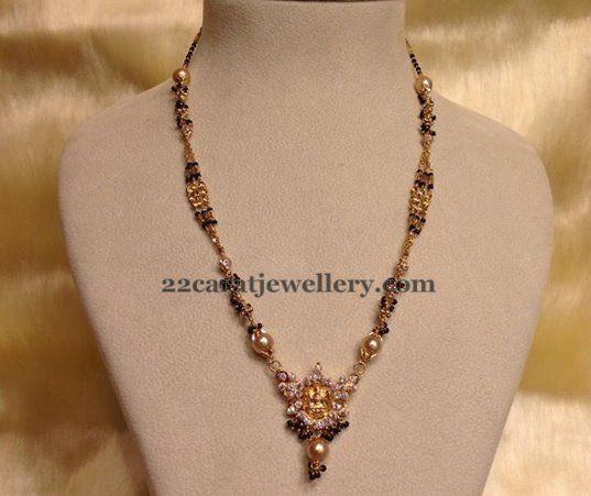 Jewellery Designs: Black Beads with Lakshmi