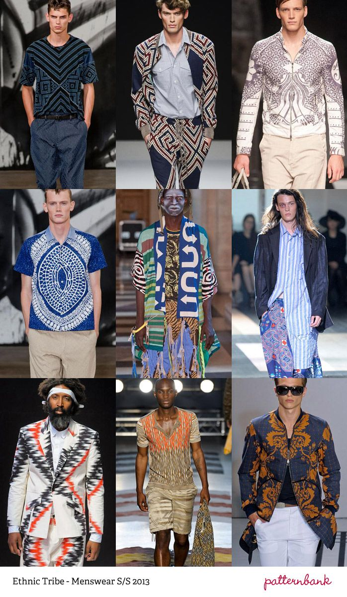 Forecasts for Spring/Summer of 2013 foresee a plethora of prints for menswear. Such patterns include abstract explosions, denim, ethnic imagery, plaid tartans, camo, and even mixing of prints. A coordinated blend of simple and eye catching details like these patterns send out a classic masculine style. Chelsea H.