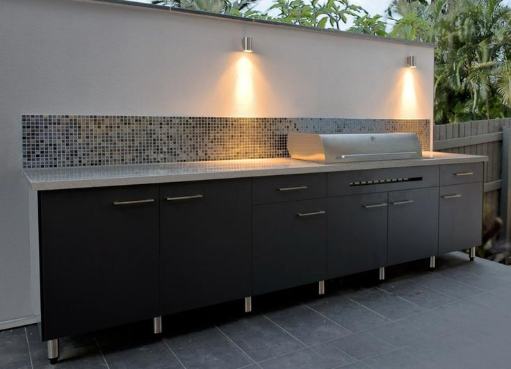 Divine Renovations Corinda BBQ Kitchen Extension #Sleek #Black #Cabinetry #Stone #Benchtop
