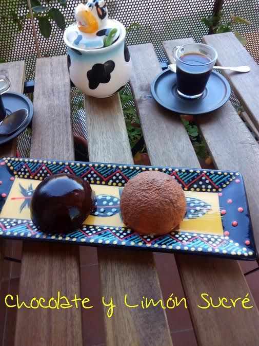 Esferas de chocolate con crema de mascarpone. #chocolateylimónsucré