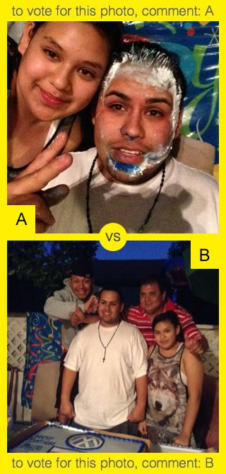 To vote for top photo comment A, to vote for bottom photo comment B. See results at http://swingvoteapp.com/#!polls/1421. Click here http://swingvoteapp.mobi/ to install Swingvote mobile app and create your own polls.
