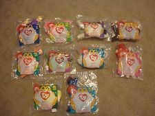 McDonalds BEANIE BABIES set of 10 NIP 1996 3 with RARE Ty BLACK HEART Label