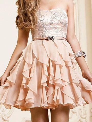 Vestido De Cóctel de Gasa de Corte A de Corto/Mini Strapless Con Cintas at pickedlook.com