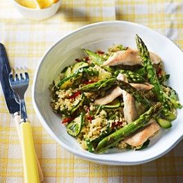 Herby Couscous with Roast Chicken #asparagusmonth #cookit  #perfectpicnic #joules