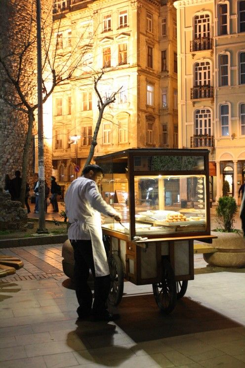 Pastries under the moonlight at the foot of the Galata Tower- Istanbul Turkey