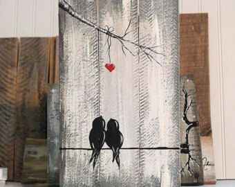 You and Me Sign Wood Signs Reclaimed Wood Art 5th Anniversary Gift Love Bird Painting Christmas Gift Wood Wall Decor Wedding Gift for Couple