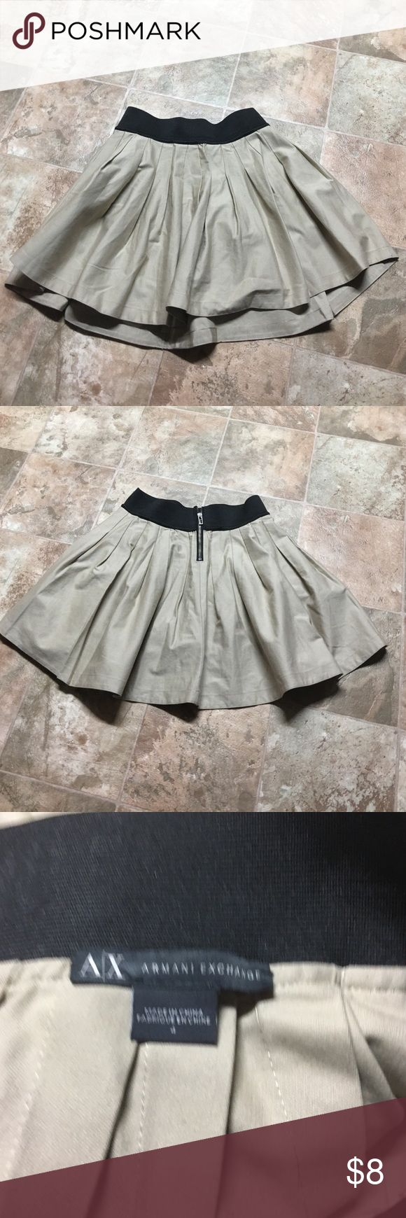 Armani exchange skirt Size for zipping back. Elastic waist 24 inches - length 17. Armani Exchange Skirts