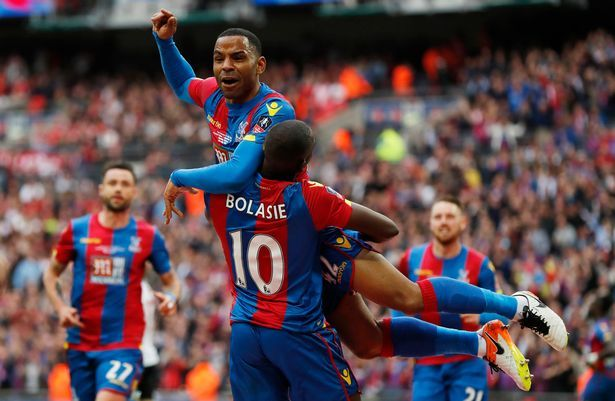 Jason Puncheon celebrates scoring in the 2016 FA Cup final with Yannick Bolasie