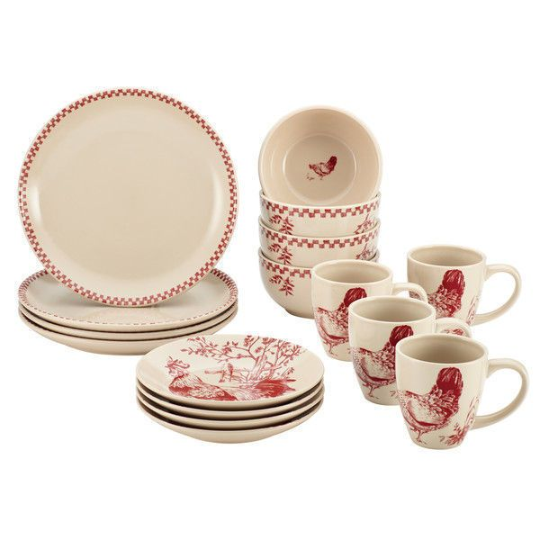 New Country Rooster 16-piece Burgundy Red Stoneware Dinnerware Set Plates Bowl #BonJour  sc 1 st  Pinterest & 11 best Dinnerware Sets images on Pinterest | Casual dinnerware ...