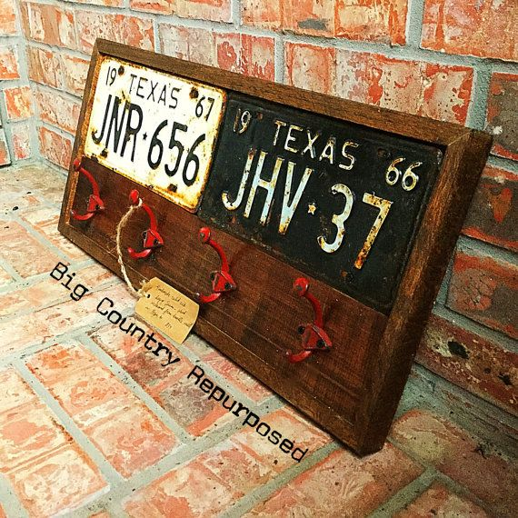 License plate coat rack by BigCountryRepurposed on Etsy