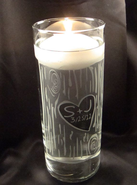 Wedding Unity Candle Vase - Rustic Birch Bark Personalized Etched Glass Candle Vase w/ Floating Candle.   Updated Design.