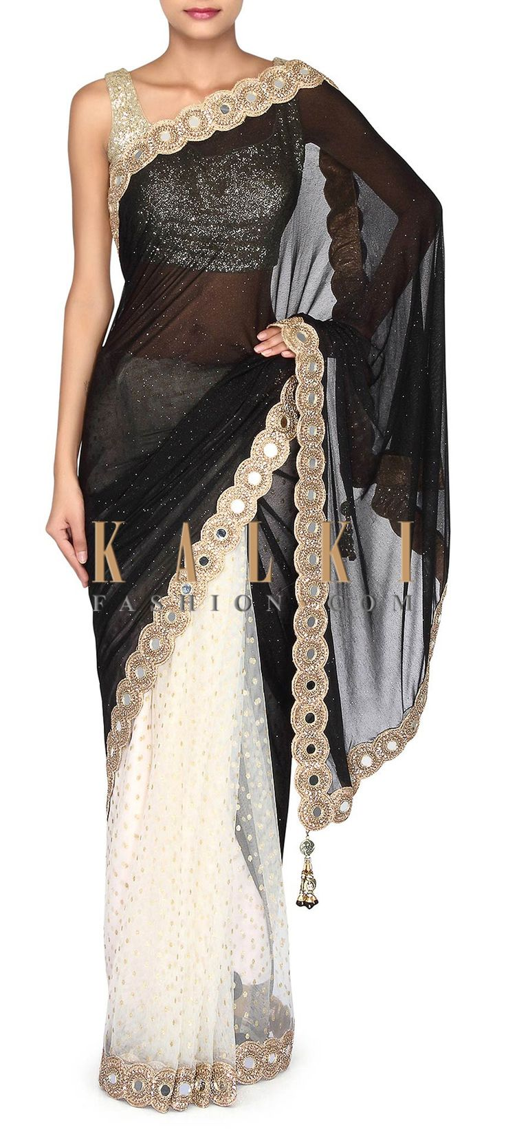 Buy Online from the link below. We ship worldwide (Free Shipping over US$100). Product SKU - 302929. Product Link - http://www.kalkifashion.com/half-and-half-saree-in-black-and-white-adorn-in-mirror-embellished-border-only-on-kalki.html