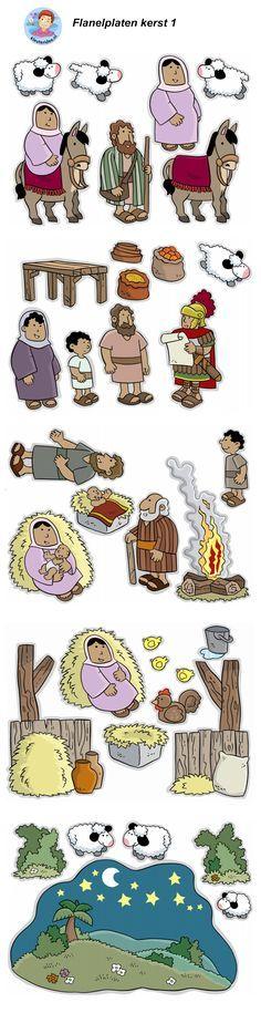 Kerst, Jezus geboren, flanelplaten voor kleuters 1, kleuteridee.nl ,Christmas nativity, Flannel Bible Sheets, free printable.