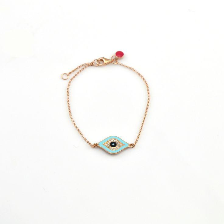 Βραχιόλι από ροζ επιχρυσωμένο ασήμι 925 με μάτι με λευκά ζιργκόν και τυρκουάζ σμάλτο.