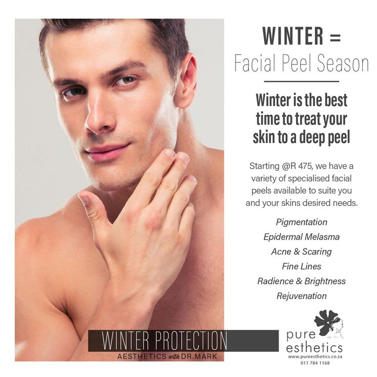 #Winter = #Facial Peel Season Winter is the best time to treat your #skin to a deep peel Starting @R 475, we have a variety of specialised facial #peels available to suite you and your skins desired needs. Pigmentation Epidermal Melasma Acne & Scaring Fine Lines Radience & Brightness Rejuvenation